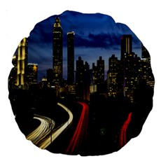 Building And Red And Yellow Light Road Time Lapse Large 18  Premium Round Cushions