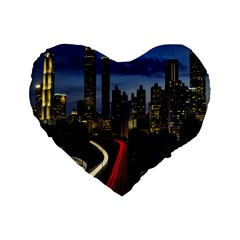 Building And Red And Yellow Light Road Time Lapse Standard 16  Premium Heart Shape Cushions