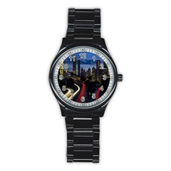 Building And Red And Yellow Light Road Time Lapse Stainless Steel Round Watch