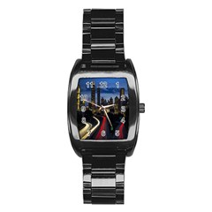 Building And Red And Yellow Light Road Time Lapse Stainless Steel Barrel Watch