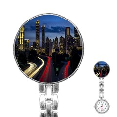 Building And Red And Yellow Light Road Time Lapse Stainless Steel Nurses Watch