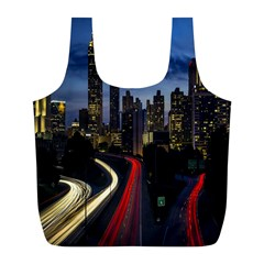 Building And Red And Yellow Light Road Time Lapse Full Print Recycle Bags (L)