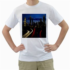 Building And Red And Yellow Light Road Time Lapse Men s T-Shirt (White)