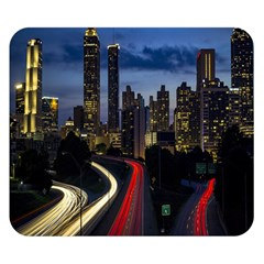 Building And Red And Yellow Light Road Time Lapse Double Sided Flano Blanket (Small)