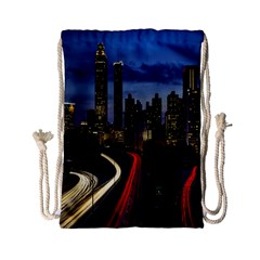Building And Red And Yellow Light Road Time Lapse Drawstring Bag (Small)