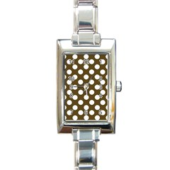 Brown Polkadot Background Rectangle Italian Charm Watch