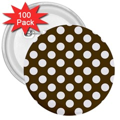 Brown Polkadot Background 3  Buttons (100 pack)