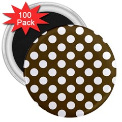 Brown Polkadot Background 3  Magnets (100 pack)