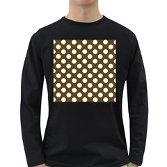 Brown Polkadot Background Long Sleeve Dark T-Shirts