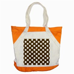 Brown Polkadot Background Accent Tote Bag