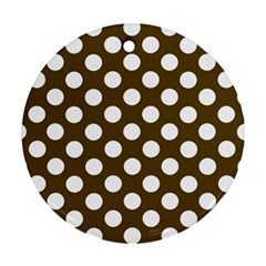 Brown Polkadot Background Round Ornament (two Sides)