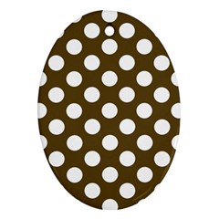 Brown Polkadot Background Oval Ornament (Two Sides)