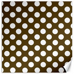 Brown Polkadot Background Canvas 12  X 12