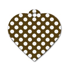 Brown Polkadot Background Dog Tag Heart (Two Sides)