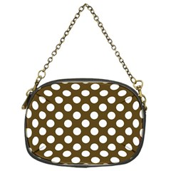 Brown Polkadot Background Chain Purses (One Side)