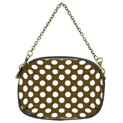 Brown Polkadot Background Chain Purses (two Sides)