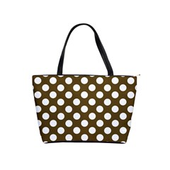 Brown Polkadot Background Shoulder Handbags