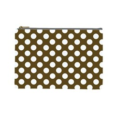 Brown Polkadot Background Cosmetic Bag (Large)