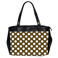 Brown Polkadot Background Office Handbags (2 Sides)