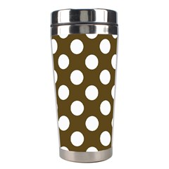 Brown Polkadot Background Stainless Steel Travel Tumblers