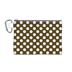 Brown Polkadot Background Canvas Cosmetic Bag (M)