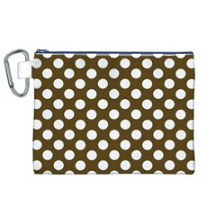 Brown Polkadot Background Canvas Cosmetic Bag (XL)