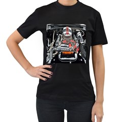 Car Engine Women s T-Shirt (Black) (Two Sided)