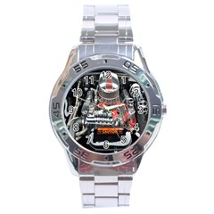 Car Engine Stainless Steel Analogue Watch
