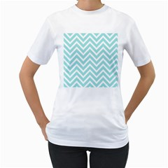 Chevrons Zigzags Pattern Blue Women s T-Shirt (White) (Two Sided)