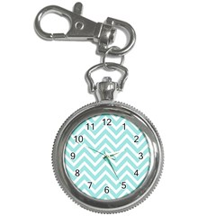 Chevrons Zigzags Pattern Blue Key Chain Watches