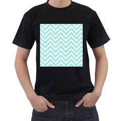Chevrons Zigzags Pattern Blue Men s T-Shirt (Black) (Two Sided)