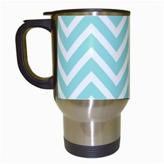 Chevrons Zigzags Pattern Blue Travel Mugs (white)
