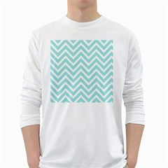 Chevrons Zigzags Pattern Blue White Long Sleeve T-Shirts
