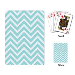 Chevrons Zigzags Pattern Blue Playing Card