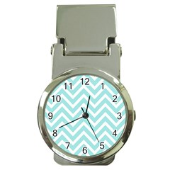 Chevrons Zigzags Pattern Blue Money Clip Watches