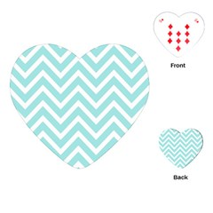 Chevrons Zigzags Pattern Blue Playing Cards (Heart)