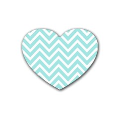 Chevrons Zigzags Pattern Blue Heart Coaster (4 pack)