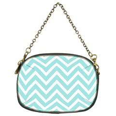 Chevrons Zigzags Pattern Blue Chain Purses (Two Sides)