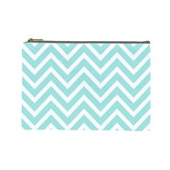 Chevrons Zigzags Pattern Blue Cosmetic Bag (Large)