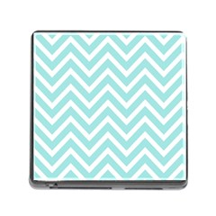 Chevrons Zigzags Pattern Blue Memory Card Reader (square)