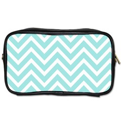 Chevrons Zigzags Pattern Blue Toiletries Bags 2-Side
