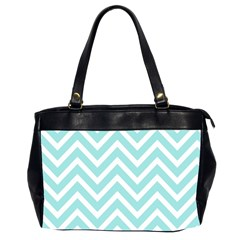 Chevrons Zigzags Pattern Blue Office Handbags (2 Sides)