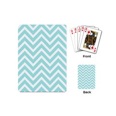 Chevrons Zigzags Pattern Blue Playing Cards (Mini)