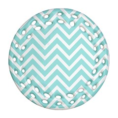 Chevrons Zigzags Pattern Blue Ornament (Round Filigree)