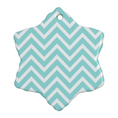 Chevrons Zigzags Pattern Blue Snowflake Ornament (Two Sides)