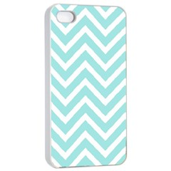 Chevrons Zigzags Pattern Blue Apple iPhone 4/4s Seamless Case (White)
