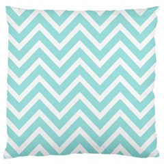 Chevrons Zigzags Pattern Blue Large Cushion Case (Two Sides)