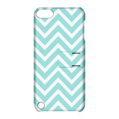 Chevrons Zigzags Pattern Blue Apple iPod Touch 5 Hardshell Case with Stand