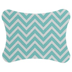 Chevrons Zigzags Pattern Blue Jigsaw Puzzle Photo Stand (Bow)