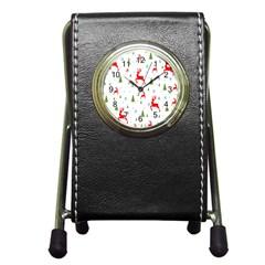 Christmas Pattern Pen Holder Desk Clocks
